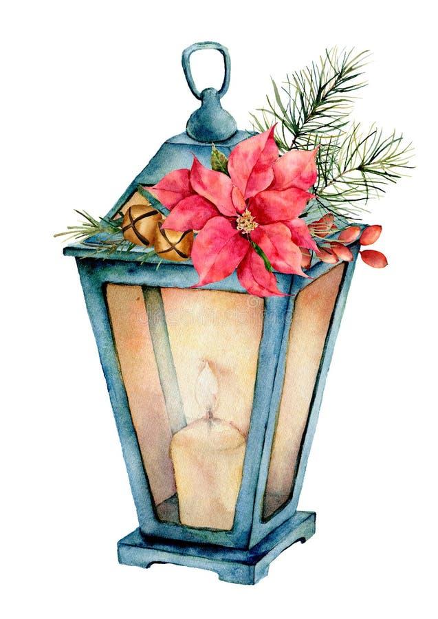 Blå lykta för vattenfärg med juldekoren Handen målade lampan, stearinljuset, granfilialen, julstjärnan, guld- klockor, gran lurar royaltyfri illustrationer