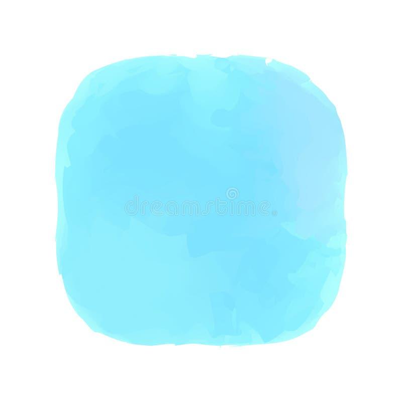 Blå målning för begrepp för färger för vattenfärgfläckcirklar, blåa färgfläckar i konst för stil för målarfärg för konst för vatt vektor illustrationer