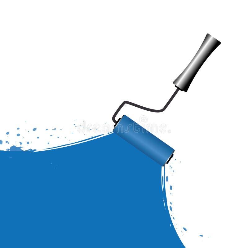 Blå målning med rullen på vit bakgrund royaltyfri illustrationer