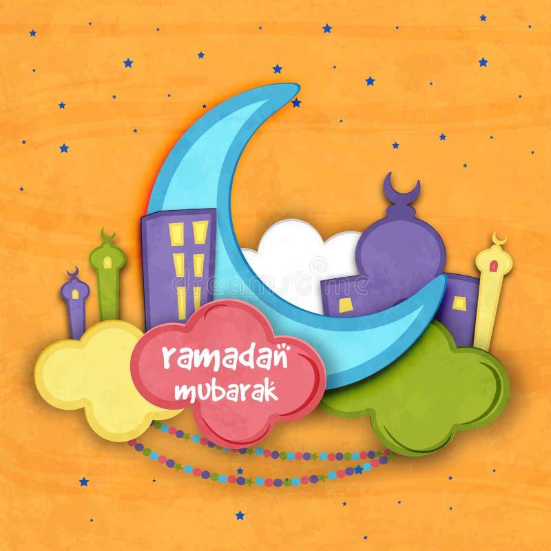 Blå måne med moskén för Ramadan Mubarak royaltyfri illustrationer