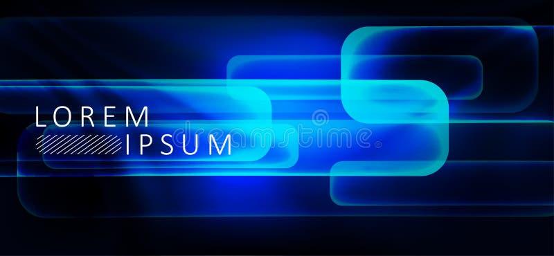 Blå mörk abstrakt bakgrund med ljusa band vektor illustrationer