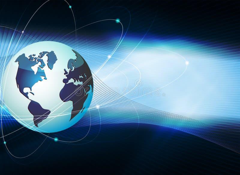 Blå mörk bakgrund med konturn av jordklotet och strålarna av ljus stock illustrationer