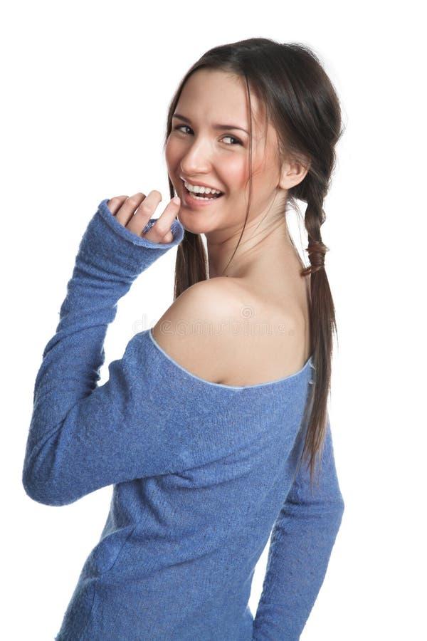 blå mörk flickatröja arkivbild