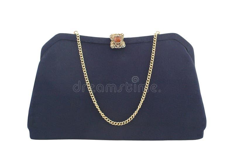 blå mörk handväska royaltyfri fotografi