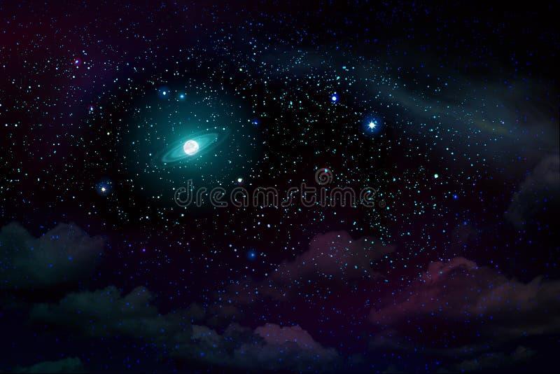 Blå mörk natthimmel med många stjärnor och fullmånen royaltyfri foto