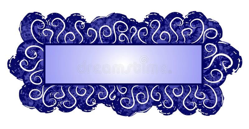 blå mörk rengöringsduk för logosidaswirls stock illustrationer
