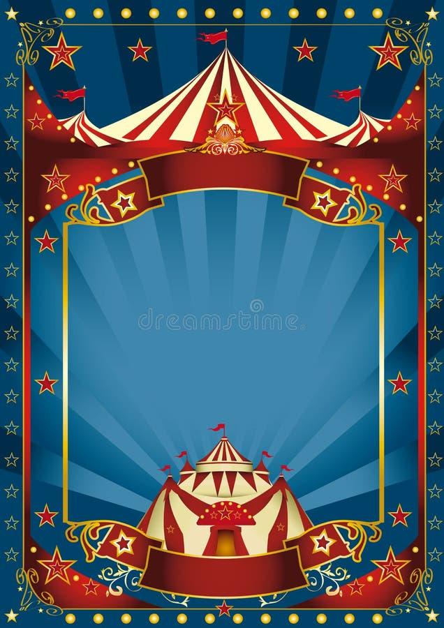 Blå magisk cirkusaffisch stock illustrationer
