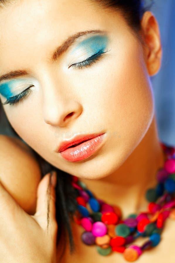 blå makeup royaltyfria bilder