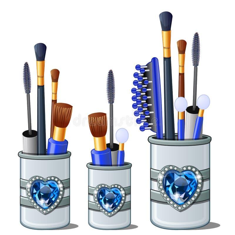Blå makeup borstar, mascara, hårkammen, bomullsknoppar vektor illustrationer