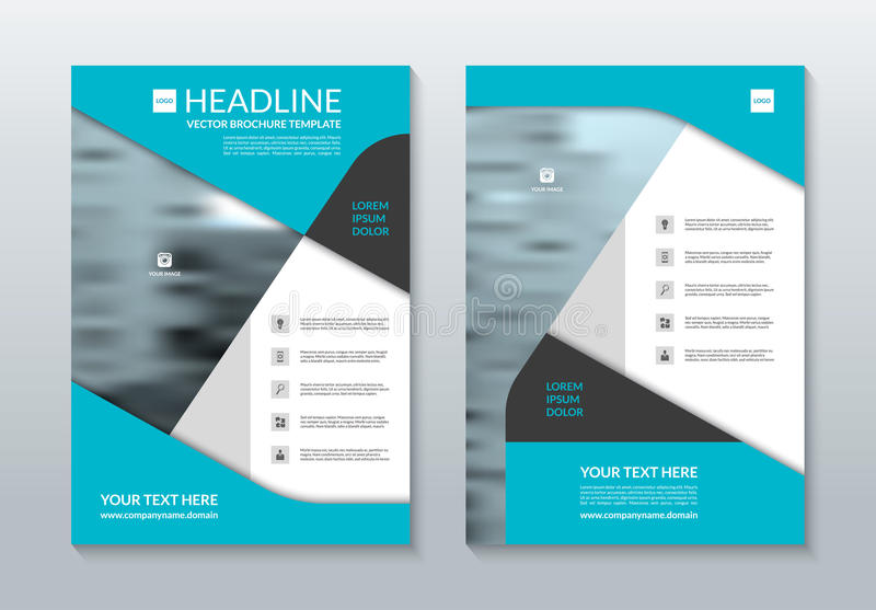 Blå mall för årsrapportbroschyrorientering Format A4 Det kan vara nödvändigt för kapacitet av designarbete stock illustrationer