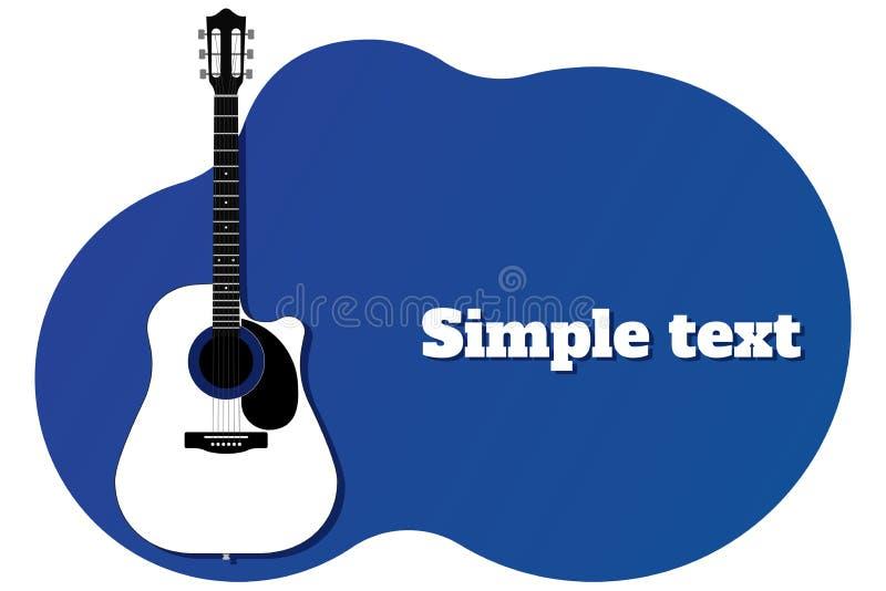 Blå mall för baner eller affisch med gitarren och ställe för textvektorillustration stock illustrationer