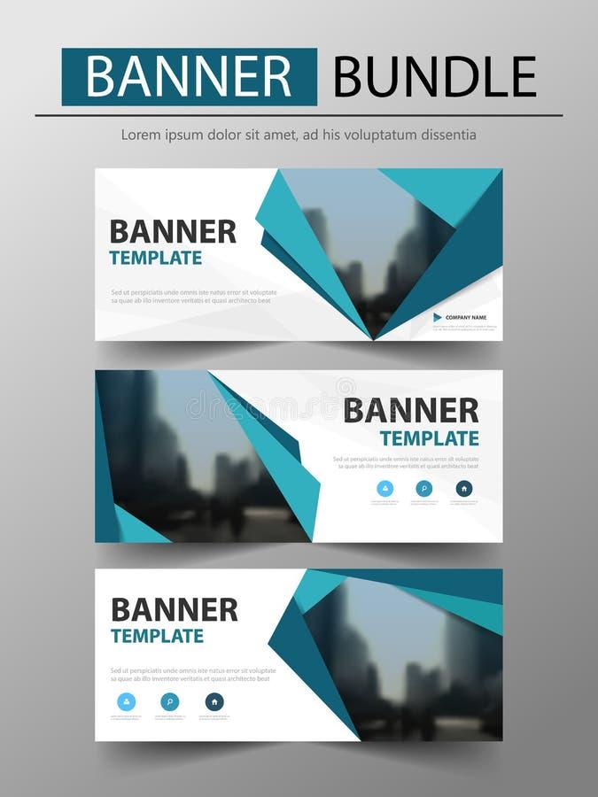 Blå mall för baner för triangelbegreppsaffär, titelradräkning för websitedesignmall Horisontalbanermall stock illustrationer