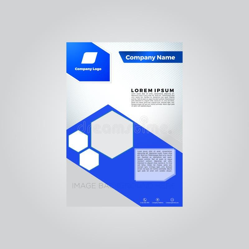 Blå mall för broschyrmall stock illustrationer