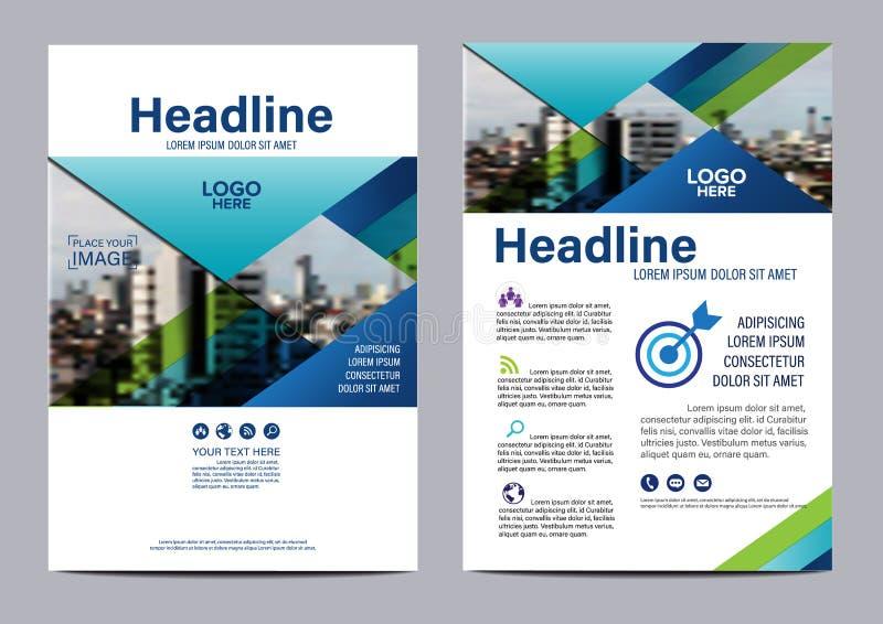 Blå mall för design för broschyrårsrapportreklamblad vektor illustrationer