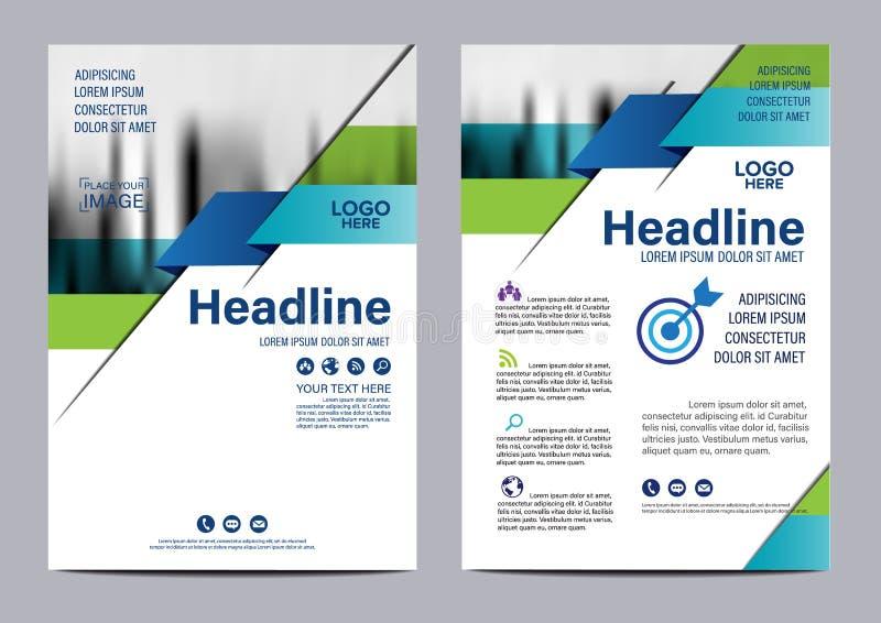 Blå mall för design för broschyrårsrapportreklamblad royaltyfri illustrationer