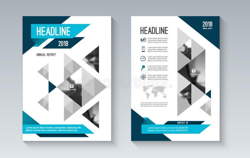 Blå mall för orientering för affärsbroschyrreklamblad i geometrisk stil royaltyfri illustrationer