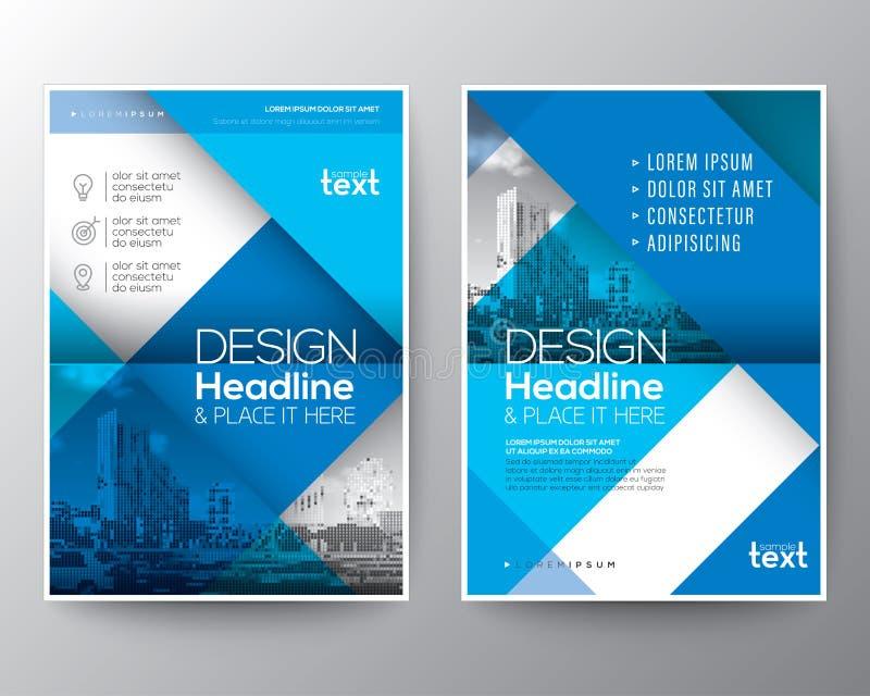 Blå mall för orientering för design för affisch för reklamblad för broschyrårsrapporträkning vektor illustrationer
