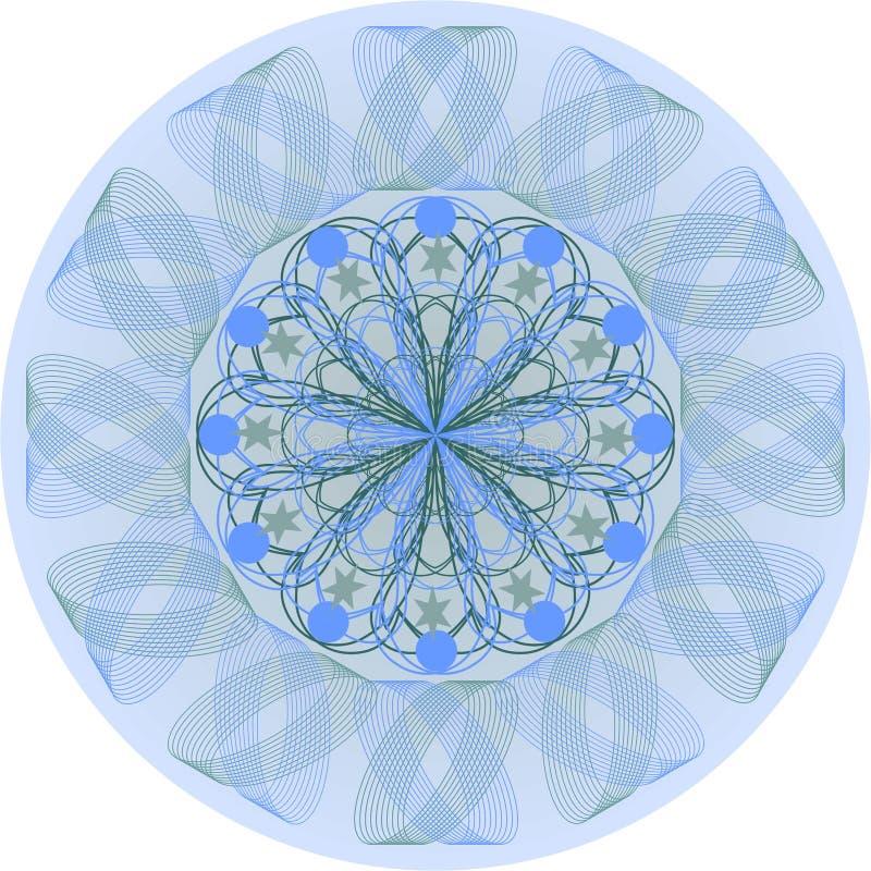 Blå mandala för singel stock illustrationer