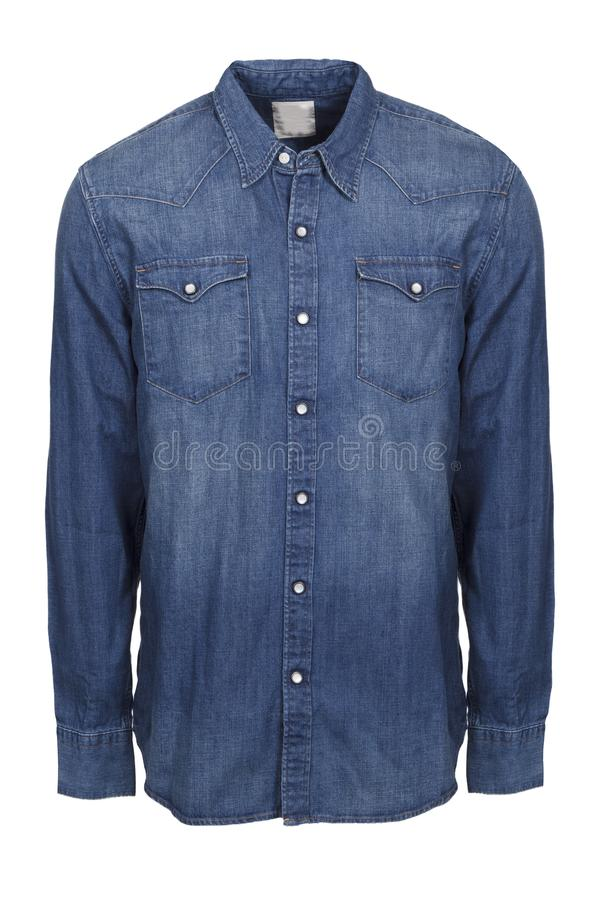 Blå manlig jeansskjorta som isoleras på vit bakgrund royaltyfri foto