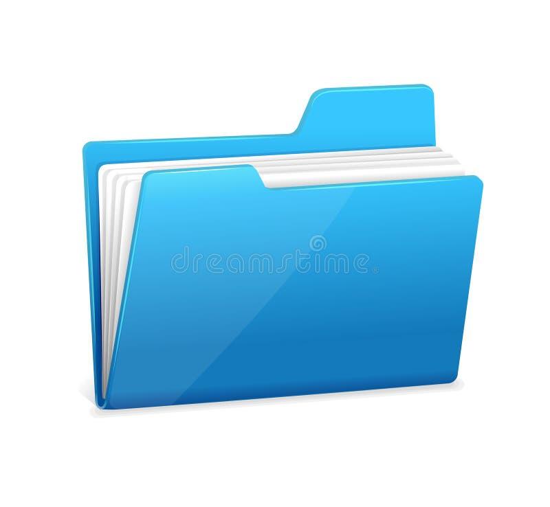 Blå mappmapp med dokument vektor illustrationer