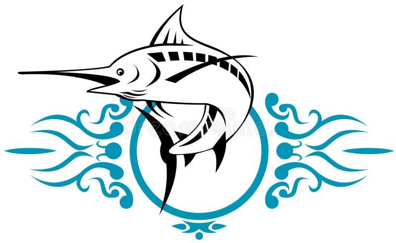 blå marlin royaltyfri illustrationer