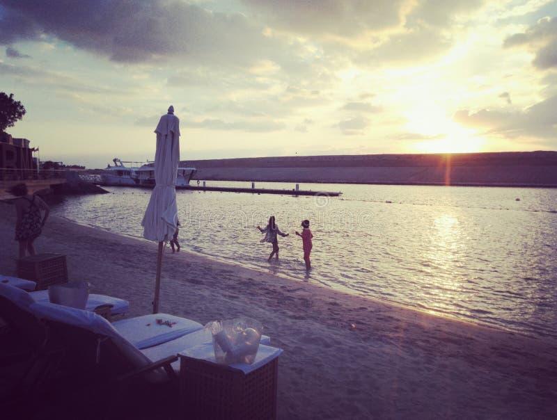 Blå Marlin Ibiza UAE solnedgång arkivfoton