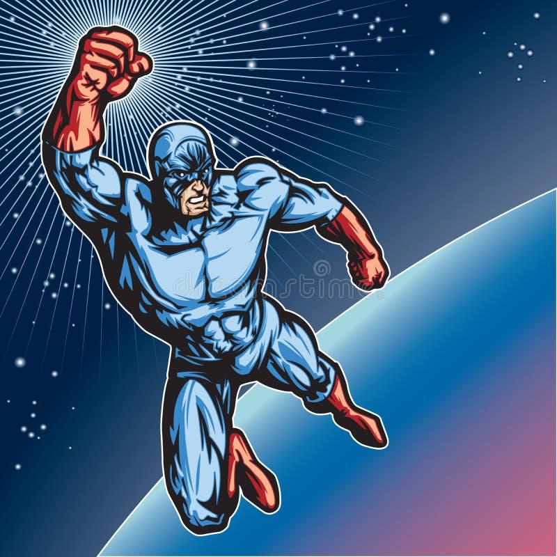 Blå maskeringshjälte 1 vektor illustrationer