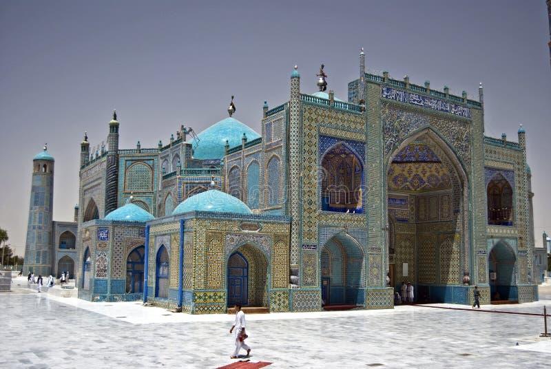 blå mazar moskésharif för e arkivfoto