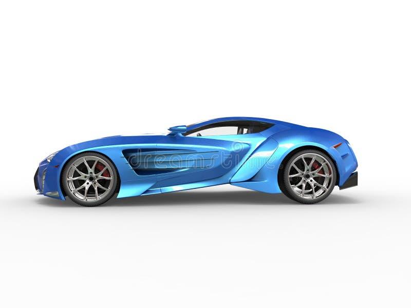 Blå metallisk supercar vektor illustrationer