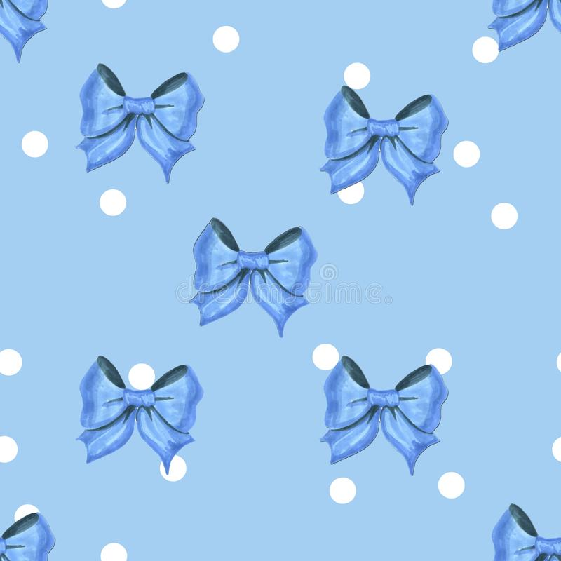 Blå modell för tappning med vita prickar och blått pilbågekonstverk royaltyfri illustrationer
