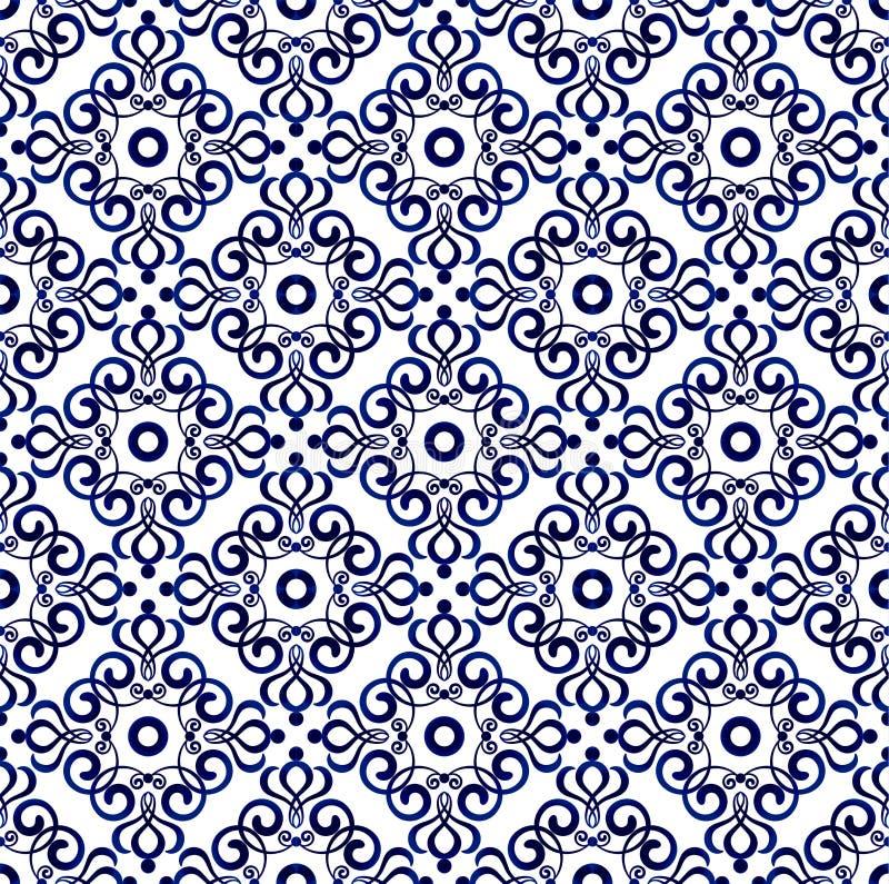 Blå modell sömlös 1 royaltyfri illustrationer