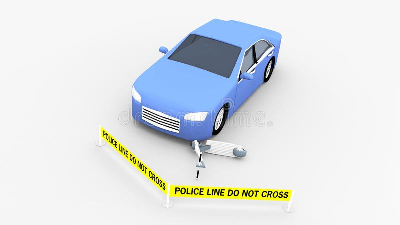 Blå modellbil med det gula polisbandet vektor illustrationer