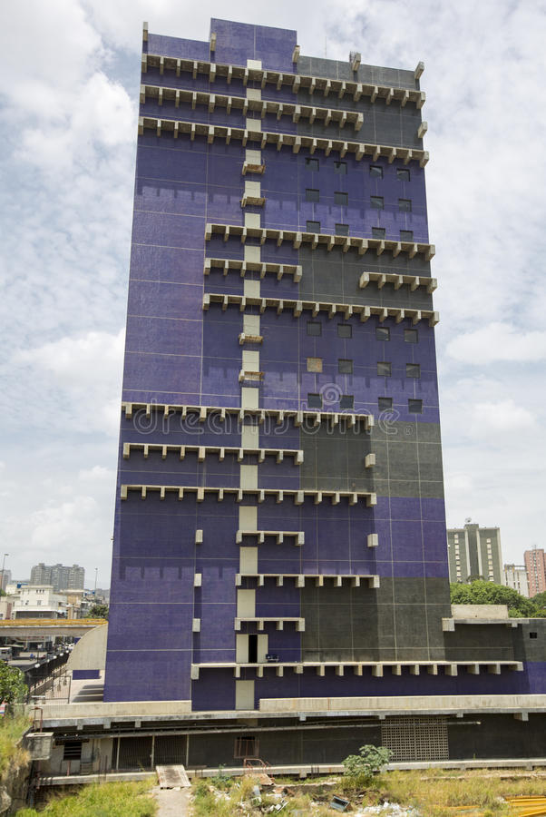 Blå modern arkitektur i Caracas, Venezuela arkivbild