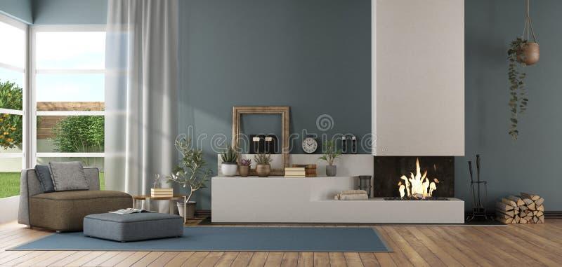 Blå modern vardagsrum med spisen vektor illustrationer
