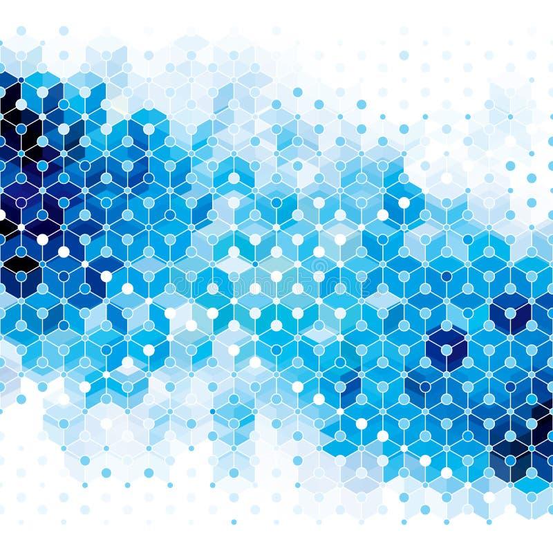 Blå molekylabstrakt begreppbakgrund stock illustrationer