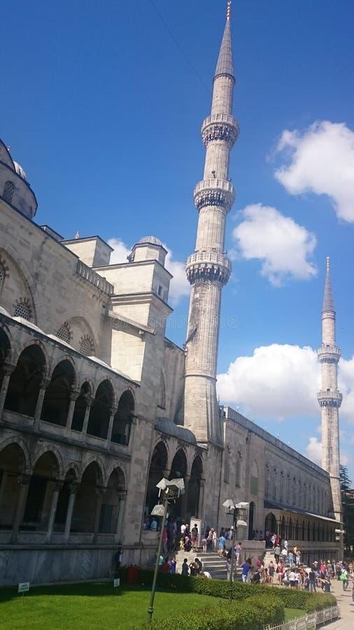 Blå moské, minaret Sultanahmet Camii, Istanbul, Turkiet arkivfoton