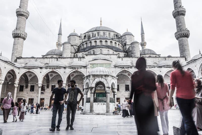 Blå moskéborggård arkivbild