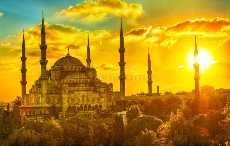 blå moskésolnedgång fotografering för bildbyråer