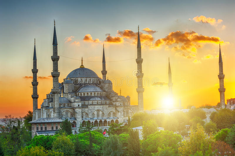 blå moskésolnedgång arkivbilder