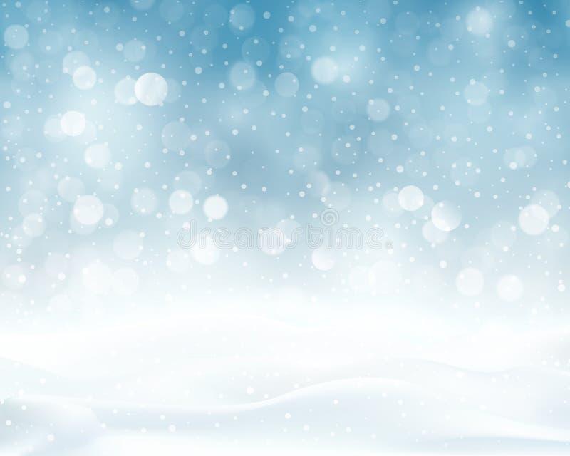Blå mousserande jul för silver, vinterbakgrund stock illustrationer