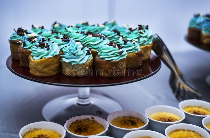 Blå muffin på plattan arkivbild