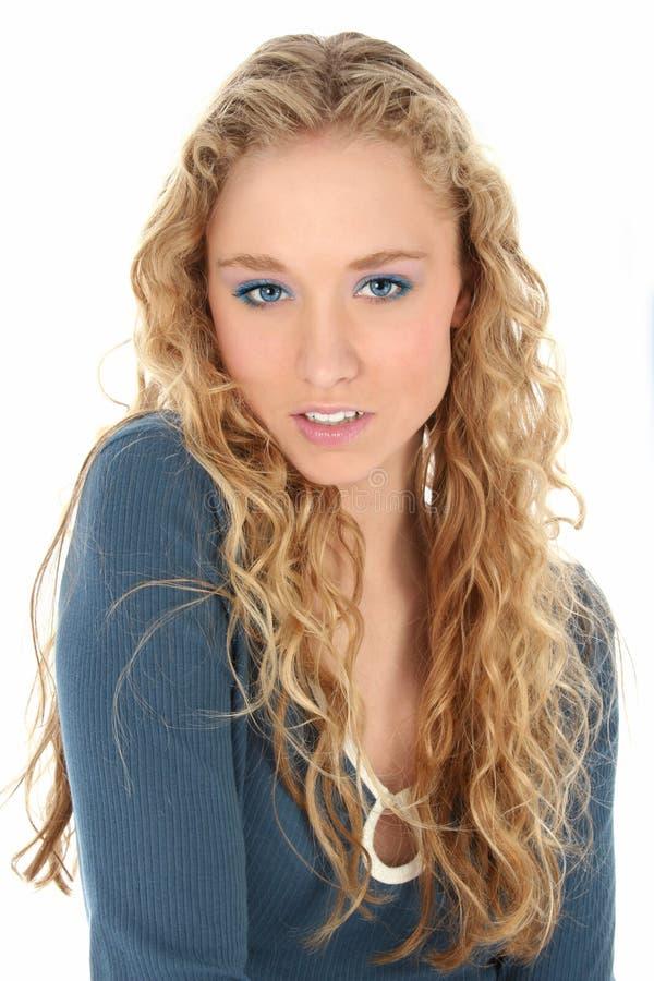 blå nätt kvinna royaltyfria foton
