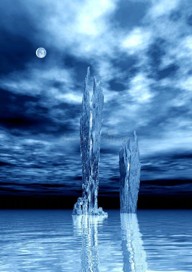 blå natt royaltyfri illustrationer