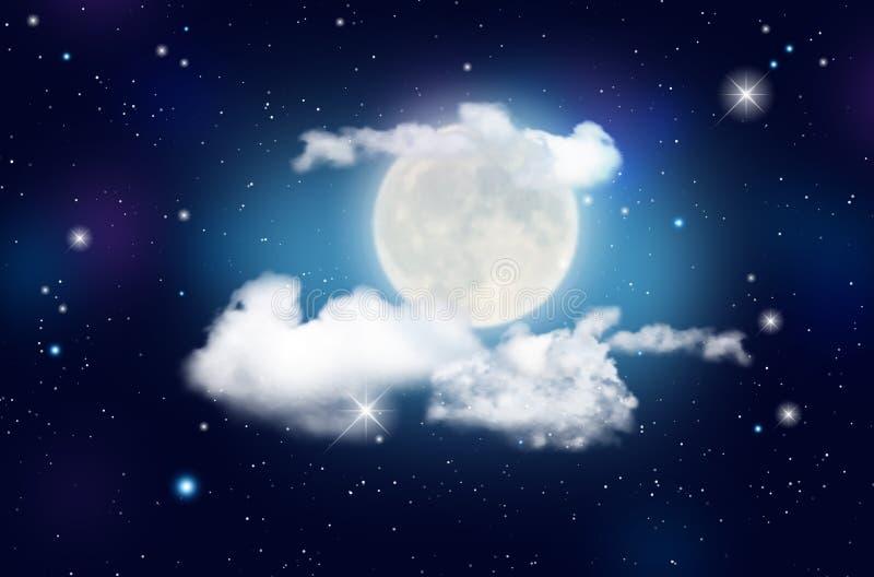 Blå natthimmel med moln, skinande stjärnor och månen royaltyfri illustrationer