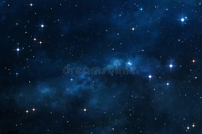 Blå nebulosautrymmebakgrund stock illustrationer
