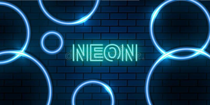 blå neonbakgrund för abstrakt cirkel arkivfoto