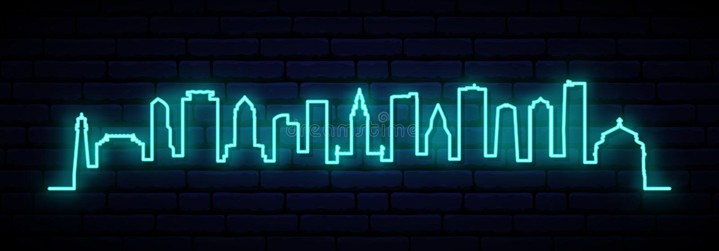 Blå neonhorisont av den Miami staden vektor illustrationer