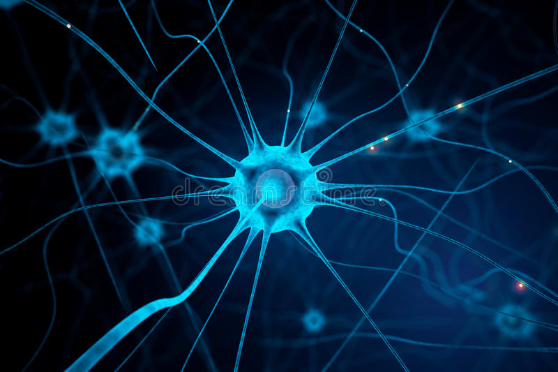 Blå nervcell royaltyfri illustrationer