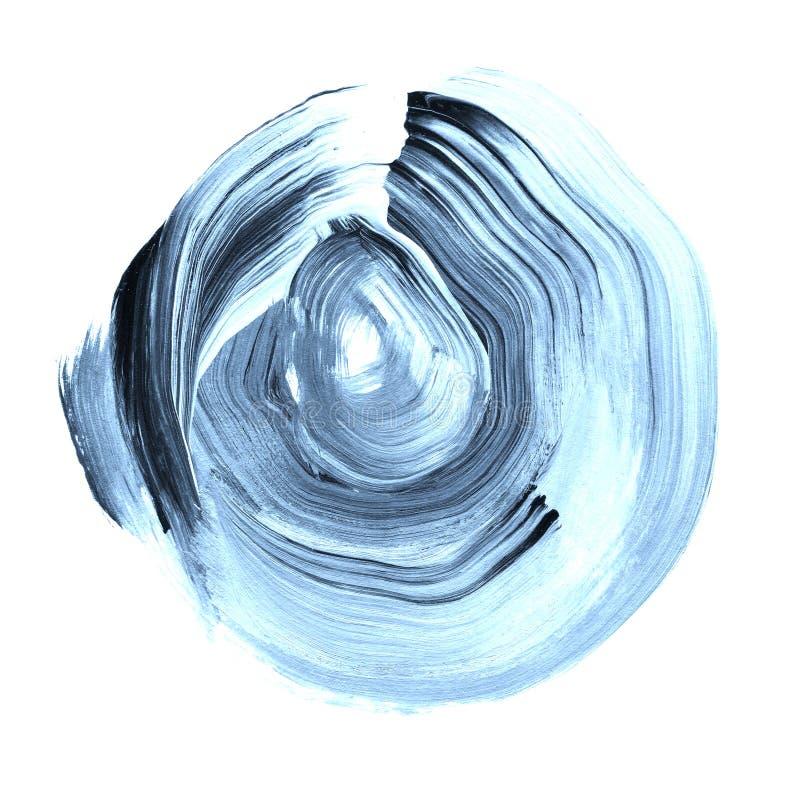 Blå niagara texturerad akrylcirkel Akvarellfläck på vit bakgrund royaltyfri illustrationer