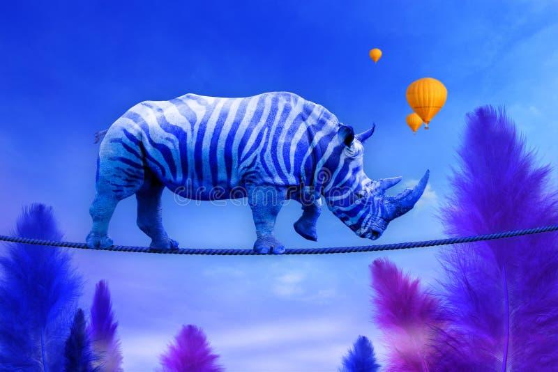Blå noshörning som går på rep stock illustrationer